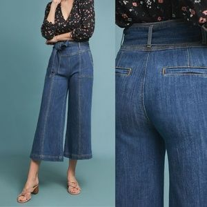 Anthro ultra high rise cropped wide flared jeans